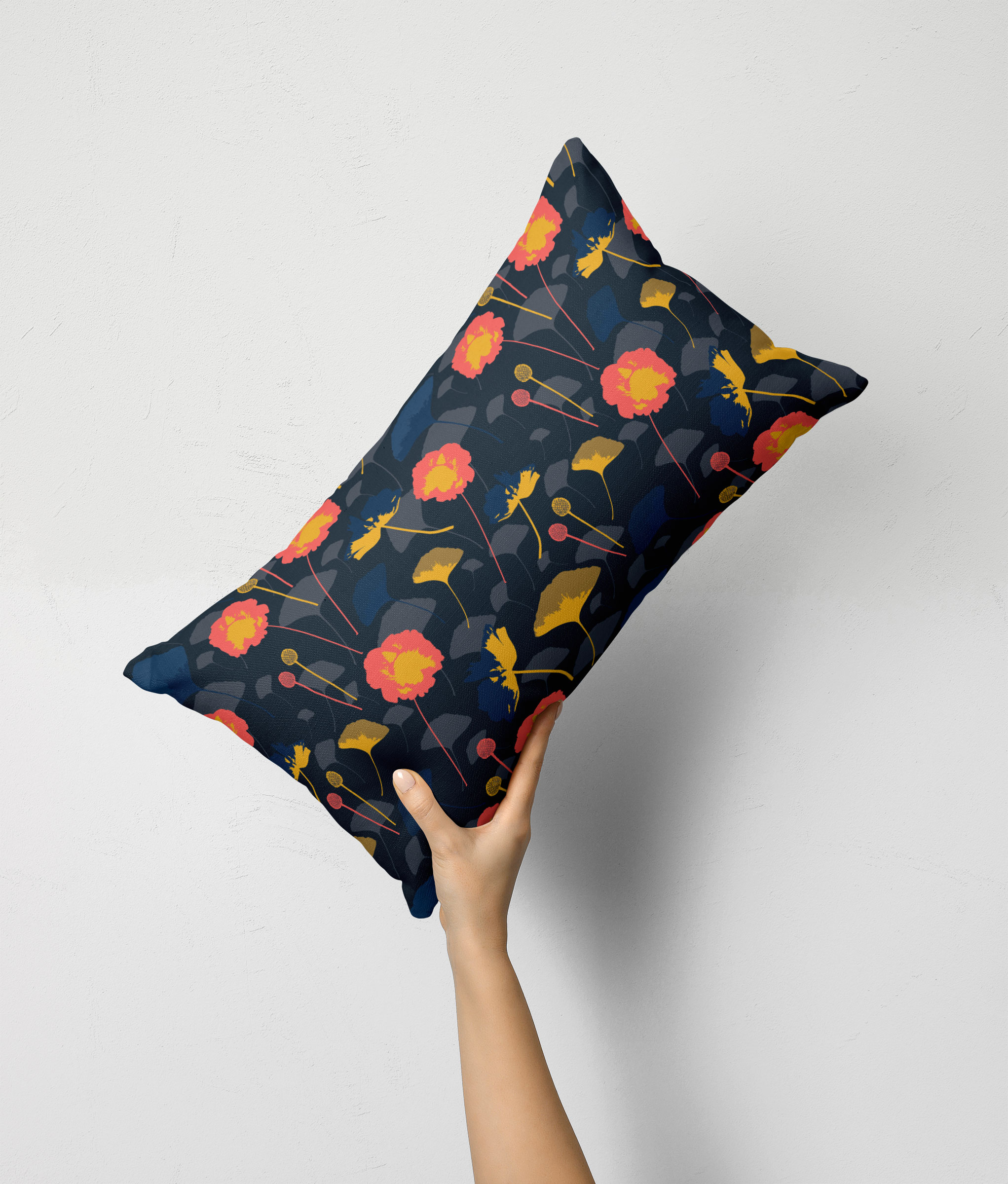 Coral Floral Dark pillow
